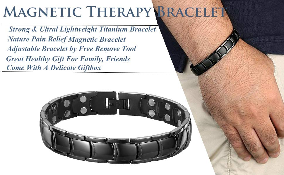 c4ee6a731644c Jeracol Magnetic Bracelets for Men Arthritis Pain Relief with Extra ...