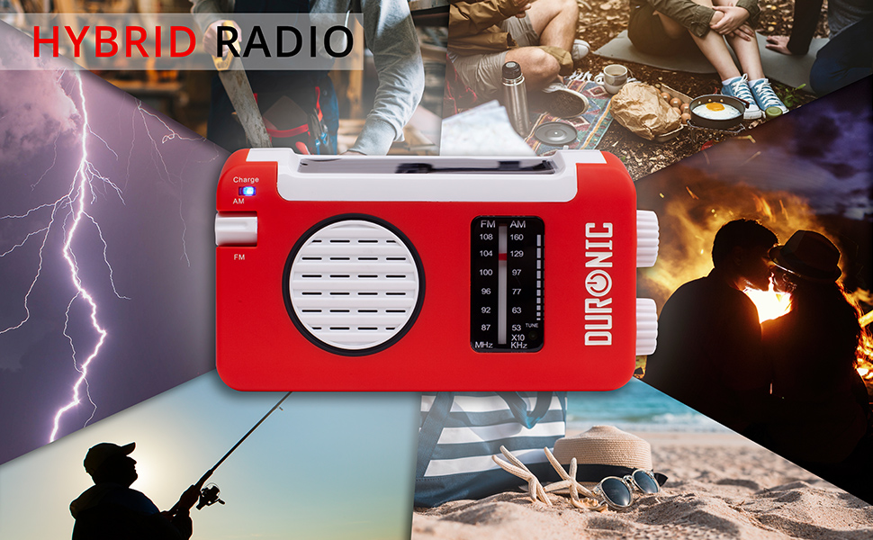 duronic, hybrid, radio, am, fm, crank, wind, up, usb, solar, charge, rechargeable, camping, torch