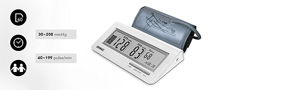 Duronic Upper Arm Blood Pressure Monitor BPM400 | Automatic | BP Machine  for Professional and Home Use | Large Digital LCD Display | Compact | 60