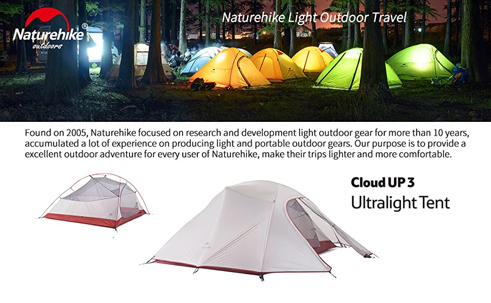Naturehike cloud up ultralight 3 person waterproof tent double layer product description mozeypictures Images