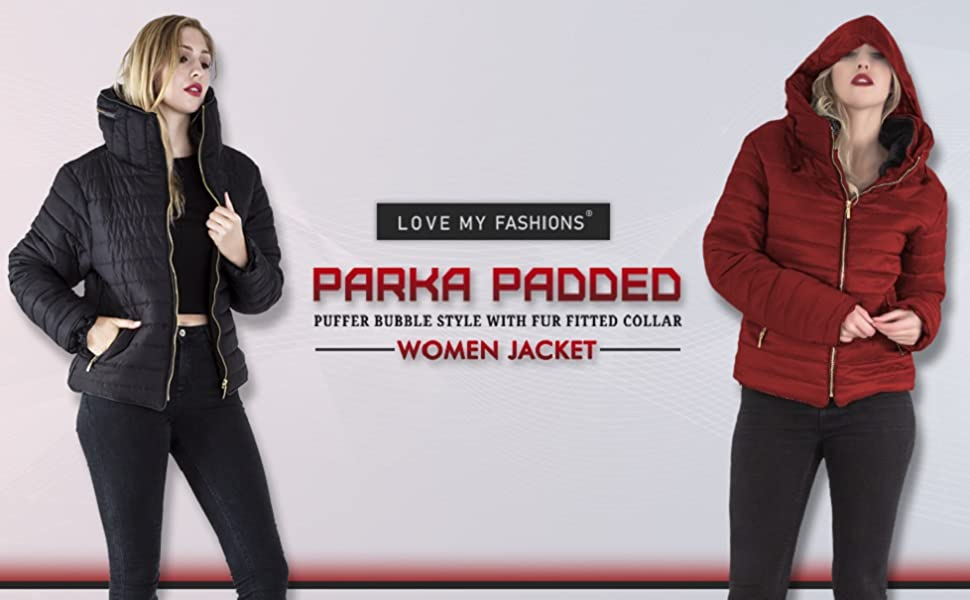 Women parka padded puffer bubble jacket