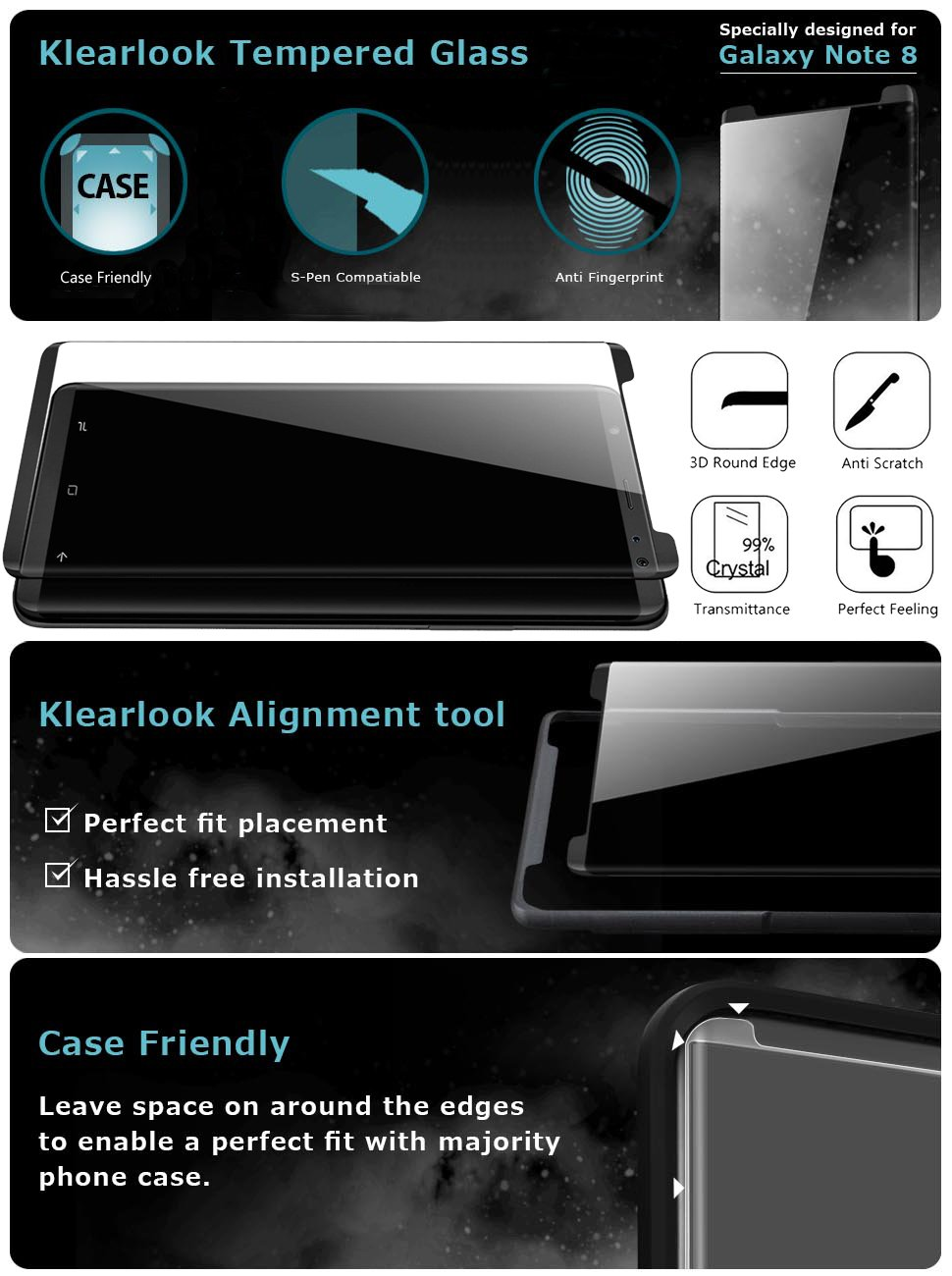Galaxy Note  Screen Protector Glass Has Applicator Case