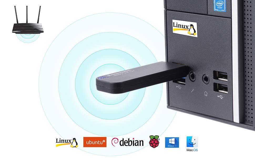 BrosTrend 1200Mbps Linux USB WiFi Network Dongle for Laptop Desktop PC of  Ubuntu, Mint, Kali, Debian, Lubuntu, Xubuntu, Raspbian, Raspberry Pi,