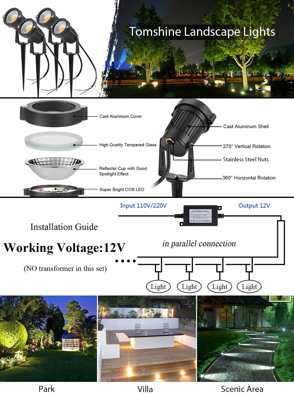 Set of 10 Low Voltage LED Path /& Flood Light 45 Lumen Durable Landscape Lantern