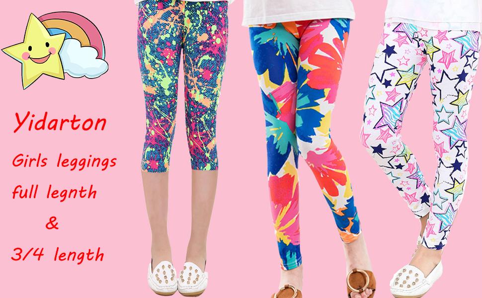 Kids Girls Animal Print Flowers Cotton Pants Shorts Pants Calf-length Leggings