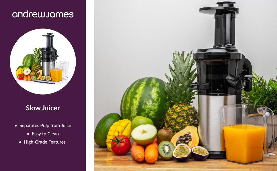 Andrew James Masticating Slow Juicer Machine | Juices Various Fruit & Veg | Oranges Apples Carrots | Makes Nutritious Fresh Juice with Minimum Waste |