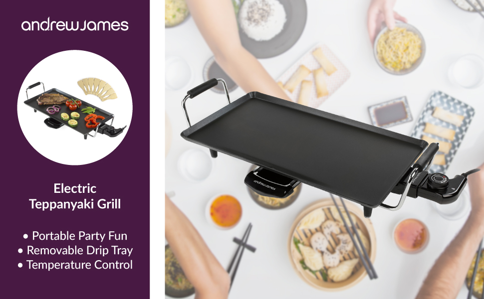 Andrew James Teppanyaki Grill | Electric Table Top Hot Plate Griddle ...