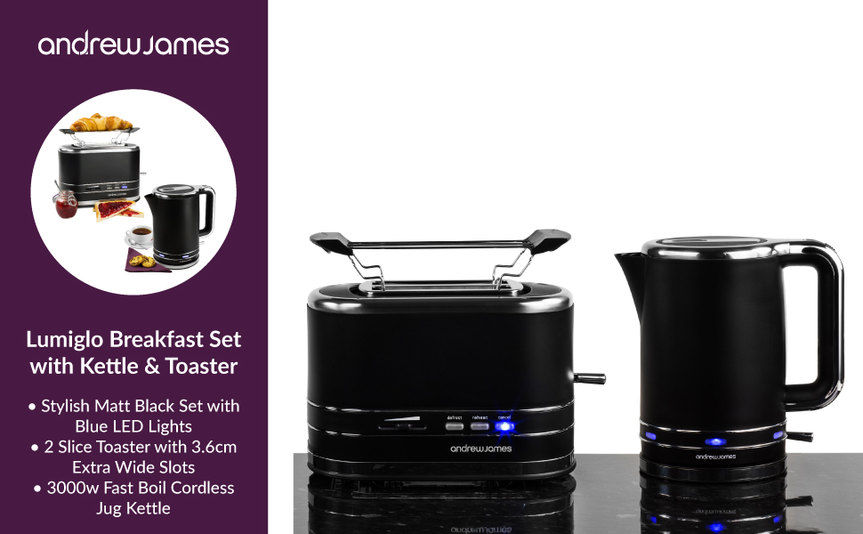 Andrew James Lumiglo Toaster Amp Kettle Set Black With
