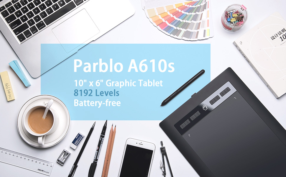 Parblo Island A610s Graphic Drawing Digital Pen Tablet 8192 Levels Pressure  5080 LPI Resolution Drawing Painting Board