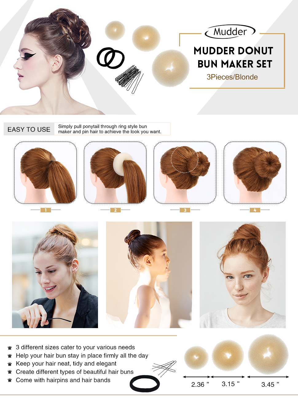 3 Pieces Donut Bun Maker Hair Bun Maker Ring Style Bun