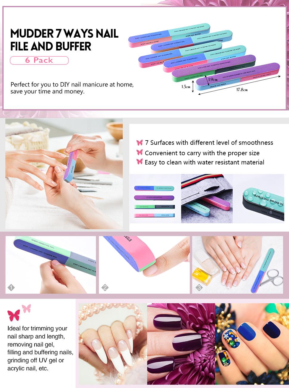 6 Pack Nail File and Nail Buffer Cosmetic Manicure, 7 Ways: Amazon ...