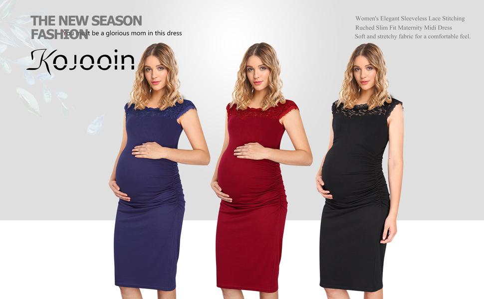 KOJOOIN Women Elegant Maternity Dress Pregnancy Dress Knee Length Wrap Dress