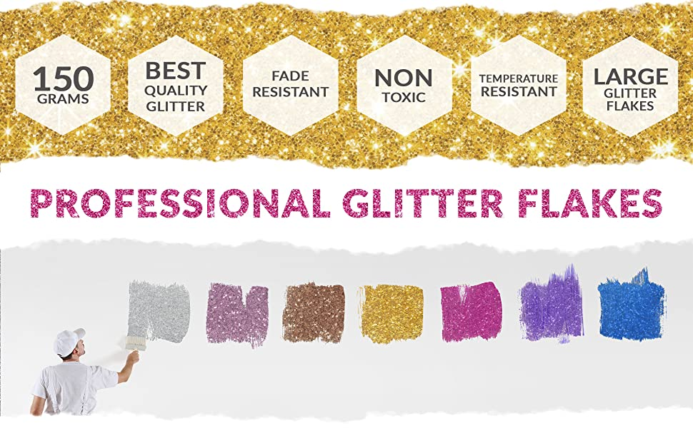 Silver 150G My Glitter Wall Glitter for Emulsion Paint Glittery Wall  Decorations Perfect for Indoors and Outdoors