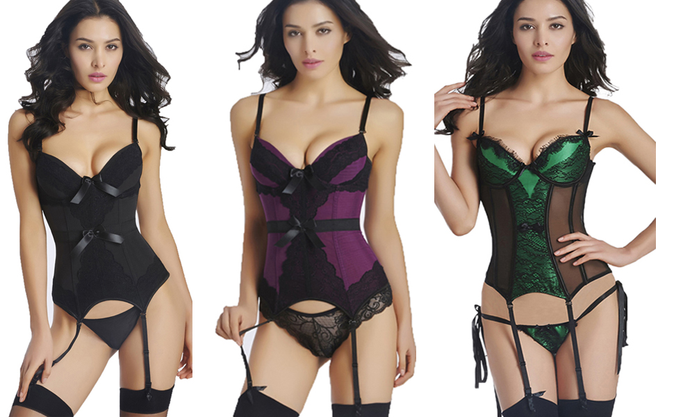 Zooma Womens Basque Corset Top with Suspenders Belt and G String Lingerie Set Bustier Waist Training