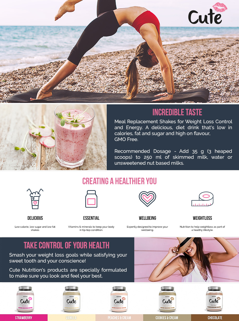 Cute Nutrition Vanilla Meal Replacement Shakes For Weight Loss