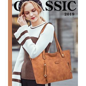 brown large handbag with long handle