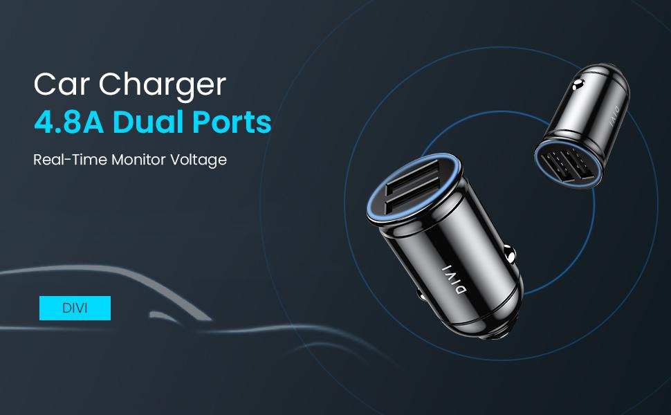 DIVI Car Charger, Car USB Charger 4 8A/24W Dual USB Ports