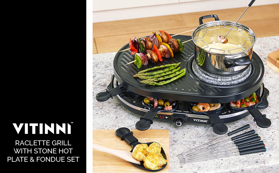 Raclette Fondue Set vitinni raclette 8 person grill griddle set with