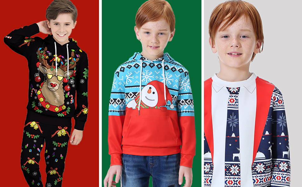 BesserBay Boys Christmas Sweatshirt Long Sleeve T-Shirt Polyester Hoodies 2-12 Years