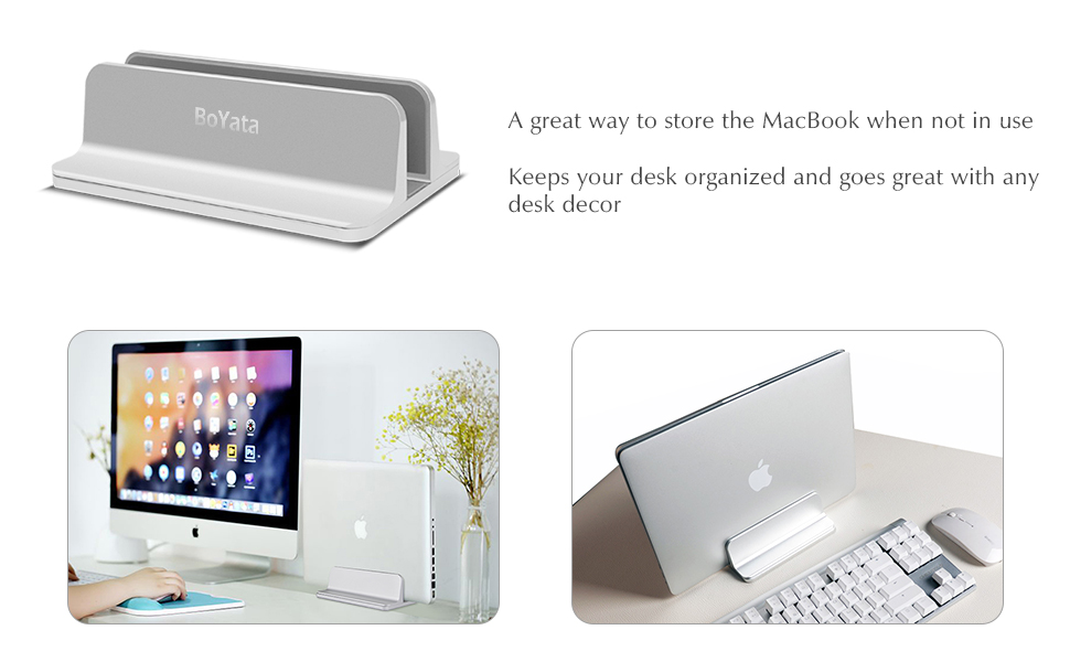 BoYata Laptop Stand, Vertical Laptop Holder: Adjustable Width, Space  Saving, Multifunctional Storage, Notebook Stand Compatible for MacBook