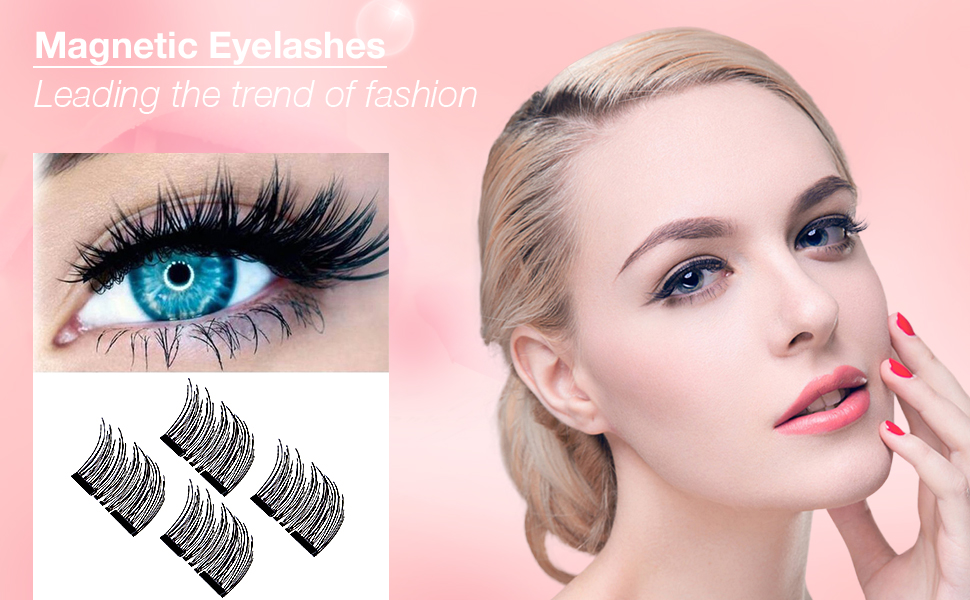 88b80430dae Magnetic False Eyelashes (1 Pair 4 Pieces) by WEBSUN, 0.2mm Ultra ...