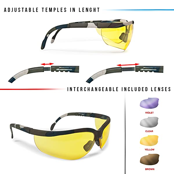 8392327173 Safety Shooting Glasses - 4 Antifog Anticrash Shooting Lenses Included by  Bertoni Italy AF159A -soft touch camo finishing