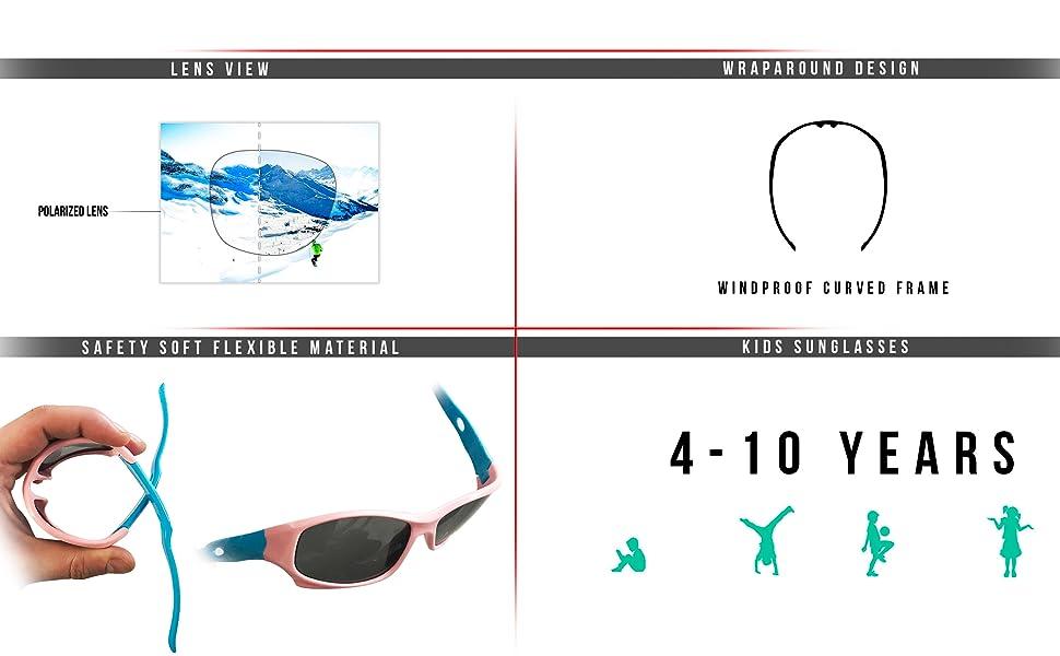 0f1c474e9a Kids Sport Sunglasses - Polarized Lens Antiglare 100% UV Protection ...