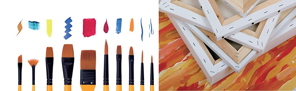 Exerz JH022 Artist Paint Brush Set  10 pcs Professional Bristle Brushes in a Protective Travel Case