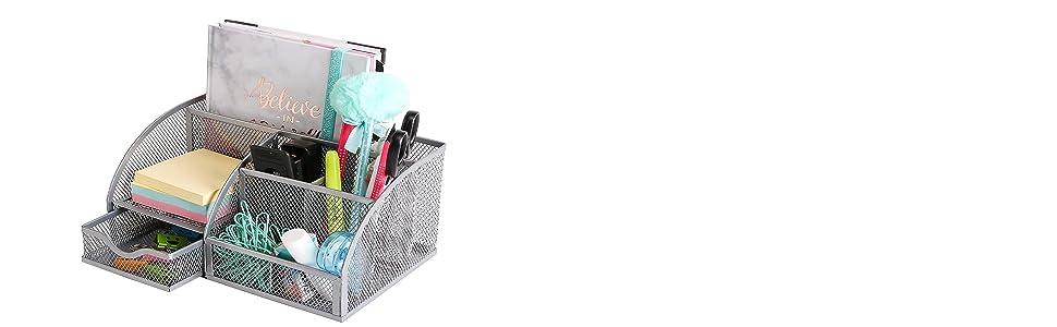 EXERZ Desk Organiser/Mesh Desk Tidy/Pen Holder/Multifunctional Organizer EX348