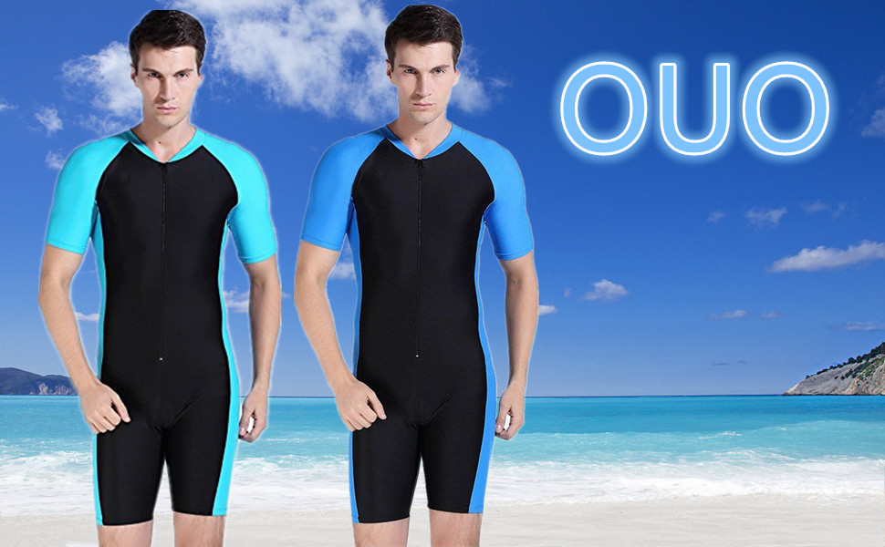 7c42e7964a7 OUO New Sunscreen One-piece Short-Sleeve Snorkeling Surfing Suit for Men  Swimsuit Swimming Costume
