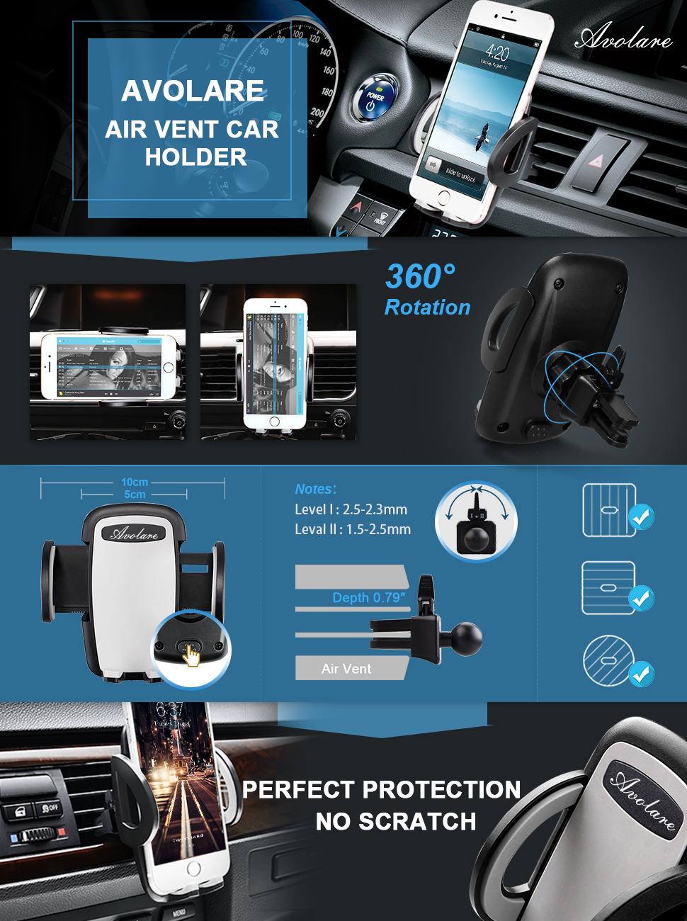 Avolare Phone Holder Car Air Vent Cradle Adjustable Mount Ventilation T360
