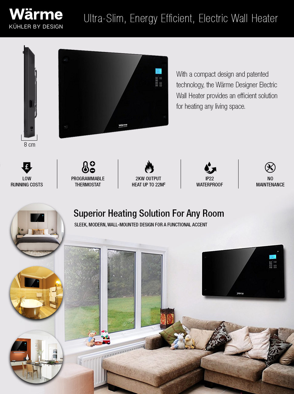 The Wärme Electric Heater Combines An Efficient Heating Solution With A  Stunning, Modern Design. Operating At A 2KW Output, One Wärme Heater Can  Heat A 22 ...