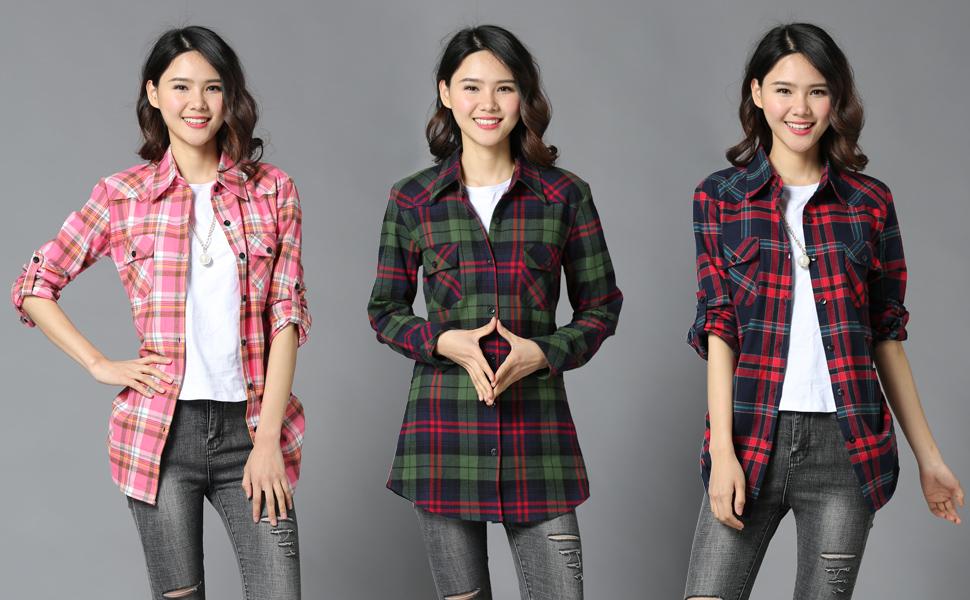 0b39c0c9c90c9d Women's Long Sleeve Plaid Shirt Middle Length Tops Blouse UK 6-20. Fabric:  100% Cotton ...