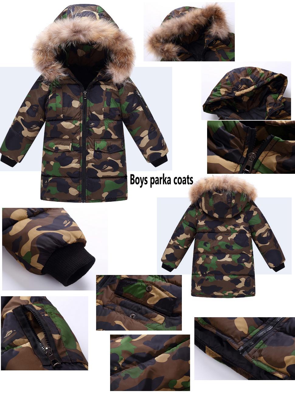 7f92f628ece2 OCHENTA Kids Boys Winter Padded Camo Jacket Coat with Faux Fur Hood ...