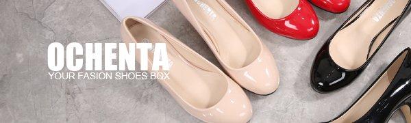 a2c973a5ec0 OCHENTA Women s Round Toe Kitten Heel Dress Work Party Pumps  Amazon ...
