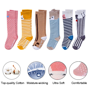 VBIGER 6 Pairs Toddler Boys and Girls Winter Socks Thick Warm Thermal Socks Cotton Socks Anti-Slip Grip Floor Stockings,Aged 0-4