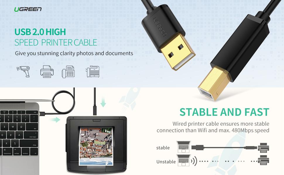 Ugreen Printer Usb Cable Usb Type B Lead 3m Usb 2 0 A