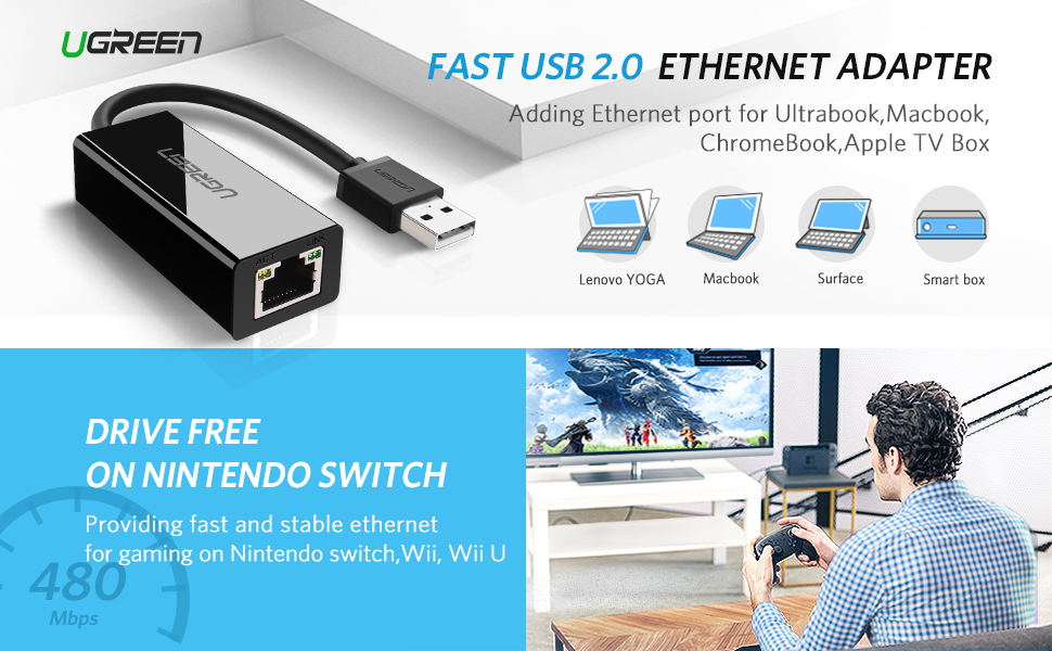UGREEN Ethernet Adapter, USB 2.0 to 10/100 Network Adapter , USB to ...