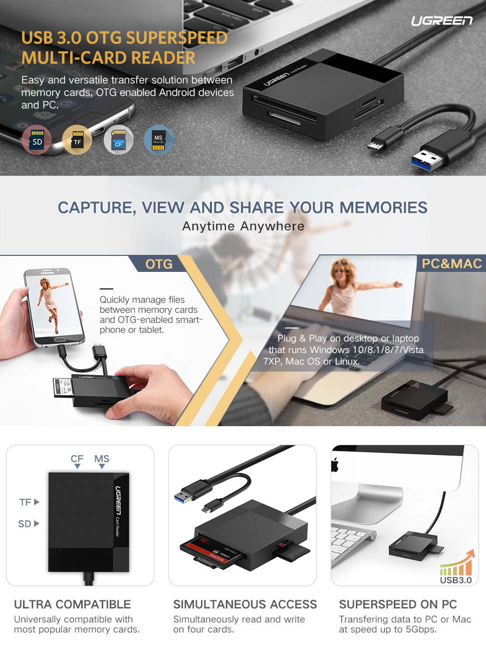 PRO USB 3.0 Card Reader Works for Samsung Galaxy J5 Adapter to Directly Read at 5Gbps Your MicroSDHC MicroSDXC Cards