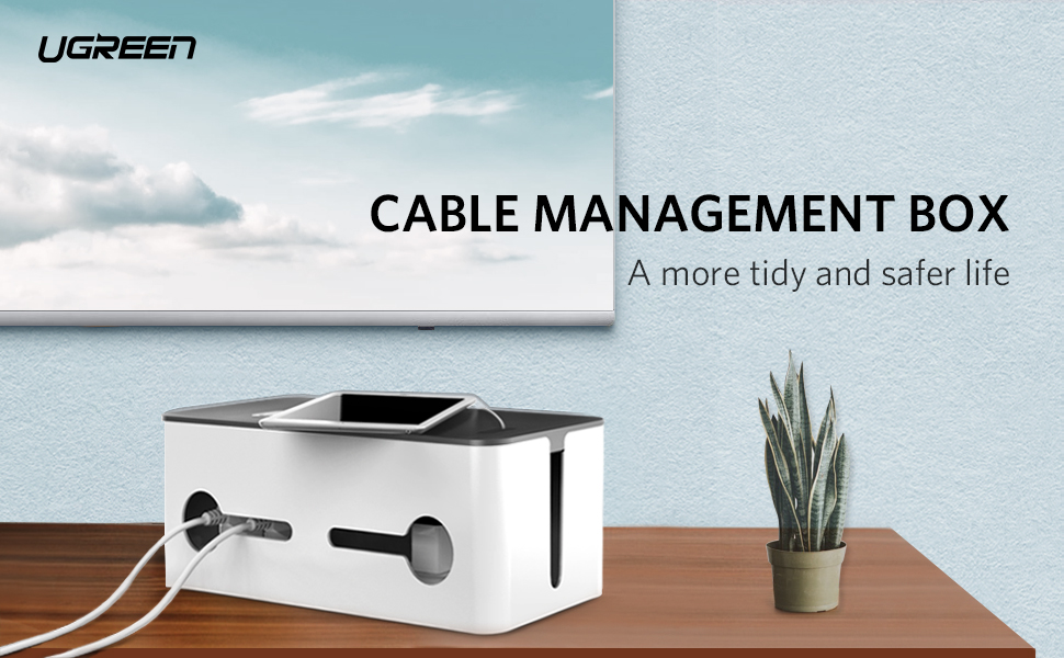UGREEN Cable Tidy Box, Extra Large Cable Management Box with Lid ...