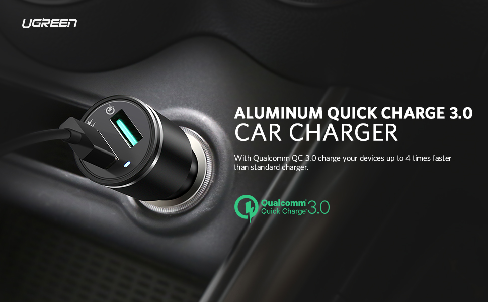 UGREEN QC 3.0 Car Charger 30w 2 USB Quick Charge Adapter compatible with Samsung S20A80Note 10 Huawei P30 Xiaomi Redmi Note 8 Moto G7 Nokia 8.1