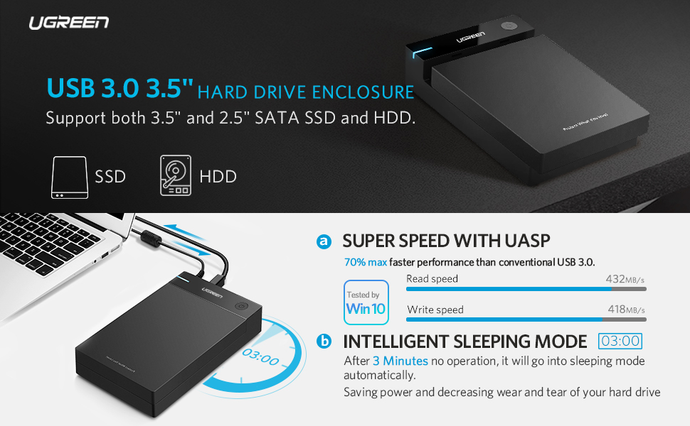 UGREEN 3.5 Inch Hard Drive Enclosure with Power Adapter & Sleep Mode