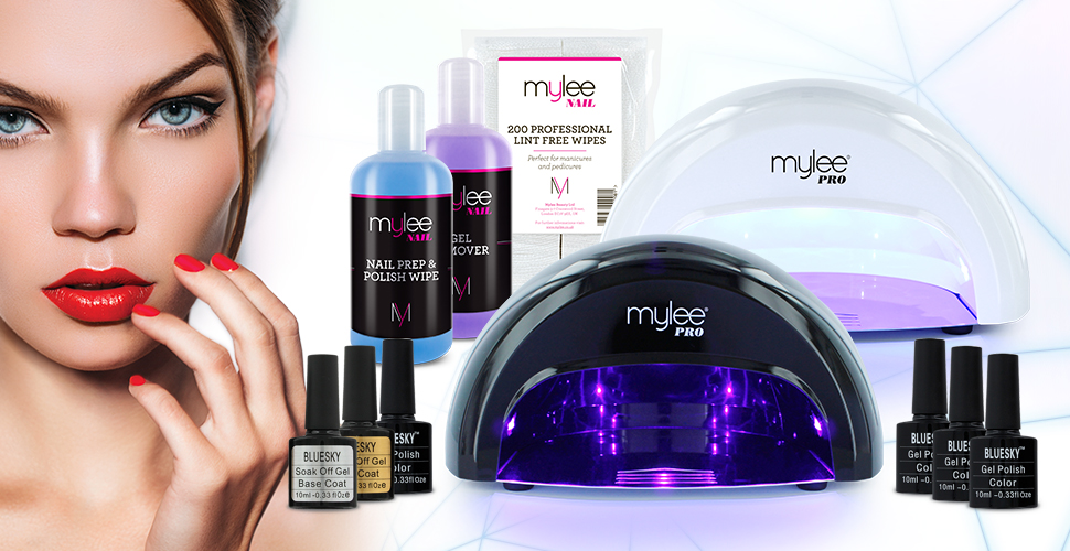 Mylee Complete Professional Gel Nail Polish Led Lamp Kit Including 4x Bluesky Colours Top