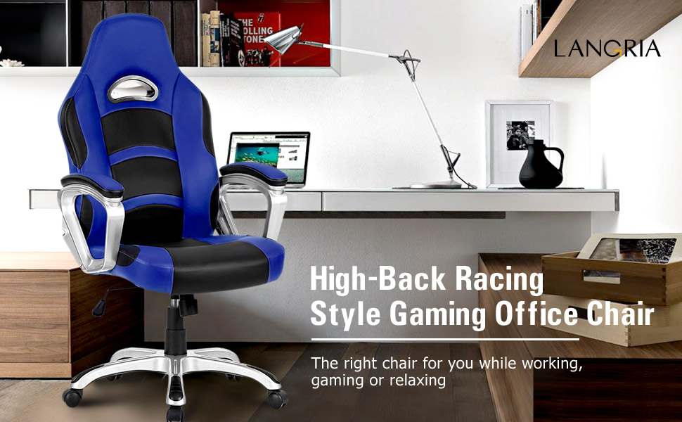 Langria High Back Computer Gaming Chair Pu Leather