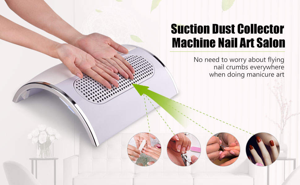 HailiCare Nail Dust Collector Suction Fan with 2 Dust Collecting ...