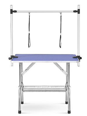 Dog Grooming Table 2 Noose 44 inch Fold Up Pet Grooming Table W/ Storage Mesh Tray Adjustable Height