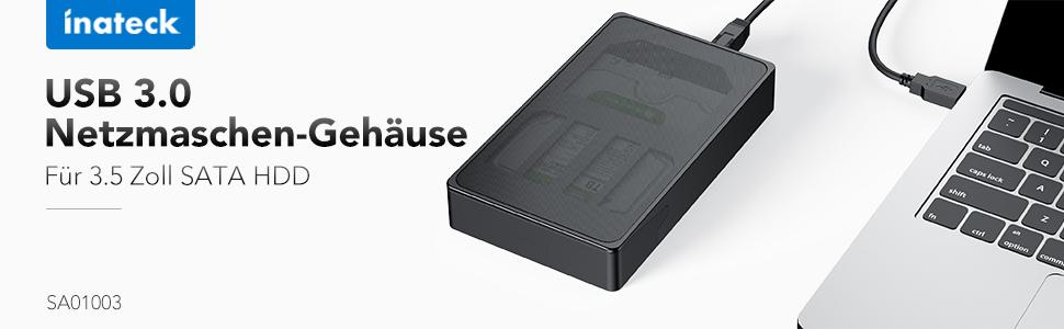 USB 3.0 Netzmaschen-Gehäuse für 3,5 Zoll SATA HDD