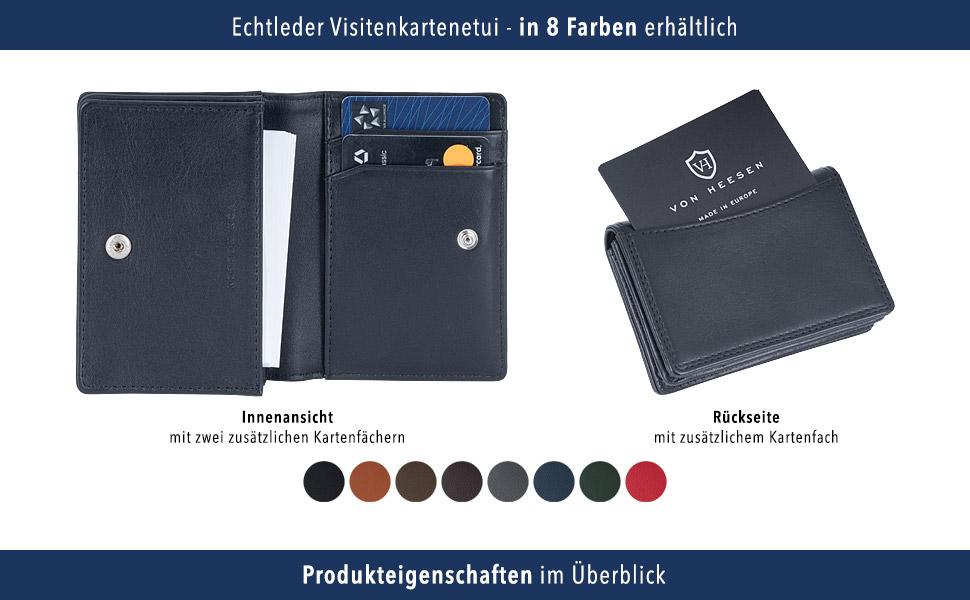 Von Heesen Rfid Visitenkarten Etuis Leder Schwarz Made In
