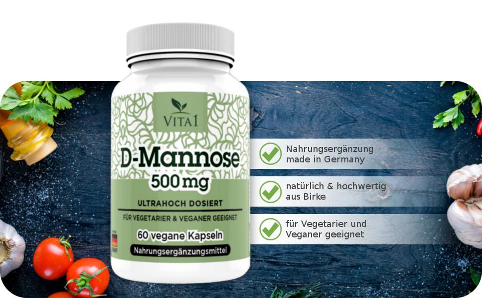 D-Mannose 60 Kapseln Tabletten hochdosiert 500mg Hergestellt in Deutschland