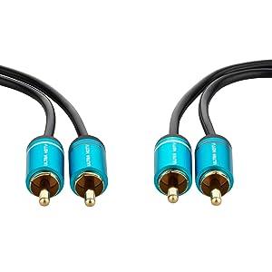 Ultra HDTV Premium Cinch Kabel 0,5 Meter 2X RCA Cinch Stecker auf 2X RCA Cinch Stecker Vollmetall Stecker und vergoldete Kontakte Knickschutz Nylon Ummantelung